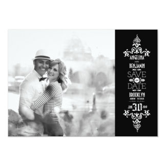 Économies élégantes de photo de Flourish vintage Faire-part Personnalisés