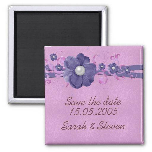 Économies florales de damassé de lavande de perle  aimant