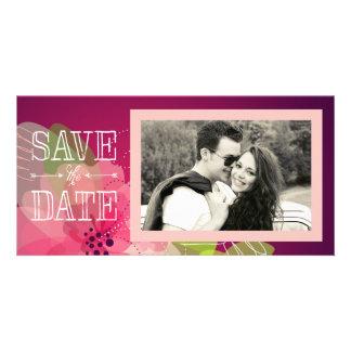 Économies florales de rose et violettes la date cartes de vœux avec photo