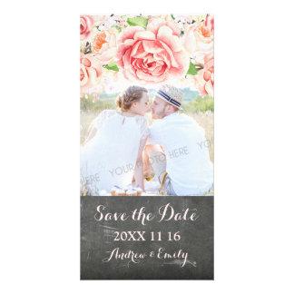 Économies florales roses de tableau la photo de photocarte customisée