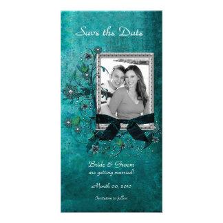 Économies florales turquoises élégantes les cartes carte avec photo