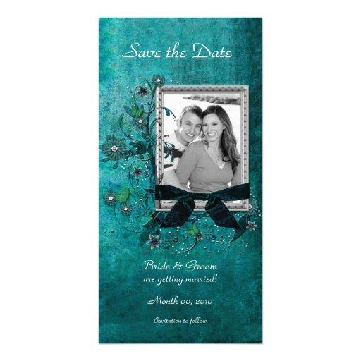 Économies florales turquoises élégantes les cartes photocarte
