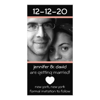 Économies modernes de coeur les dates (pêche) photocarte customisée