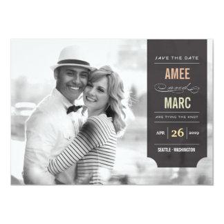 Économies noires élégantes d'étiquette le carton d'invitation  11,43 cm x 15,87 cm
