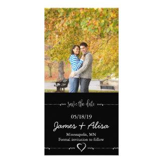 Économies noires simples de mariage la date cartes avec photo