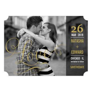 Économies romantiques de photo d amour moderne de cartons d'invitation personnalisés