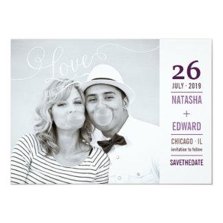 Économies romantiques de photo d'amour moderne de carton d'invitation  11,43 cm x 15,87 cm