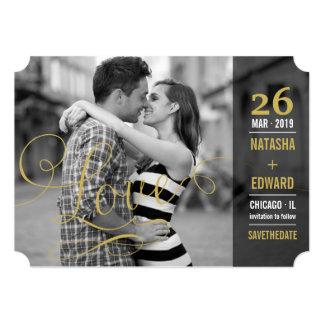 Économies romantiques de photo d'amour moderne de carton d'invitation  12,7 cm x 17,78 cm