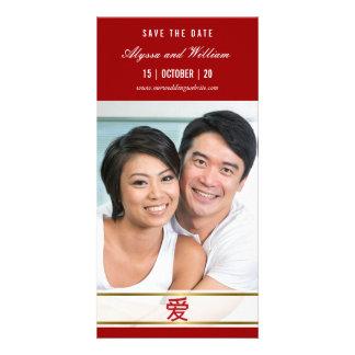 Économies rouges chinoises simples modernes de photocarte customisée