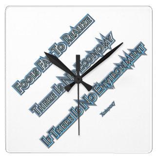 Economy vs Environment Square Wall Clock