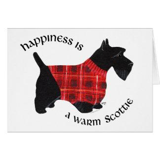 Écossais chandail rouge et noir de Terrier de plai Carte De Vœux