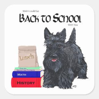 Écossais Terrier de nouveau à l'école Sticker Carré