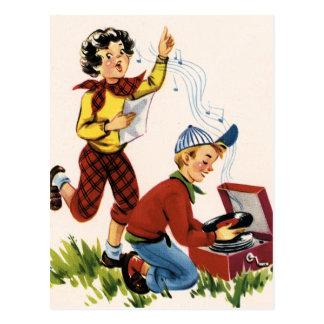 Écouter des disques d'années '50 carte postale