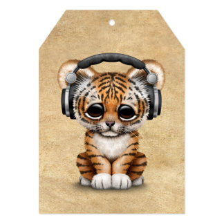 Écouteurs de port mignons de CUB de tigre DJ Carton D'invitation 12,7 Cm X 17,78 Cm