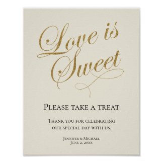 Ecru and Gold, Love is Sweet, Take a Treat Favor Poster