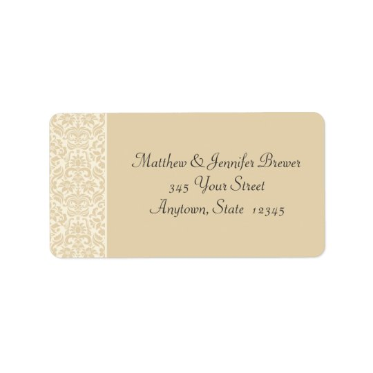 Ecru & Cream Damask Envelope Address Labels