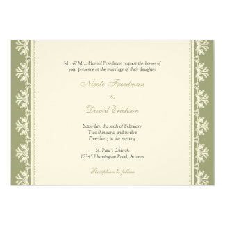Ecru green filigree beaded border custom wedding card