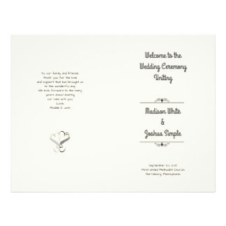 Ecru Hearts Folded Wedding Program Template