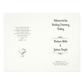 Ecru Hearts Folded Wedding Program Template Full Color Flyer
