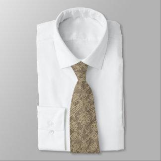 Ecru l'épousant floral vintage Brown Cravates Personnalisées