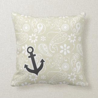 Ecru Paisley; Floral; Anchor Throw Pillow