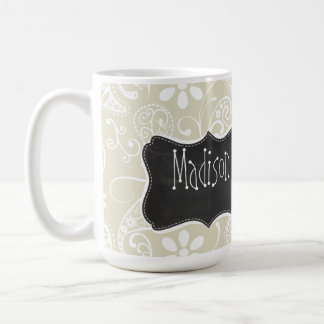 Ecru Paisley; Floral; Vintage Chalkboard Classic White Coffee Mug