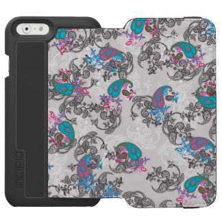 Ecru white traditional paisley floral pattern incipio watson™ iPhone 6 wallet case