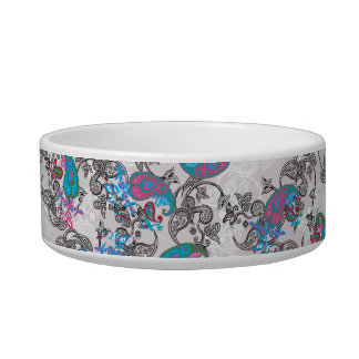 Ecru white traditional paisley floral pattern pet water bowl