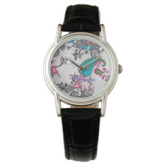 Ecru white traditional paisley floral pattern watches
