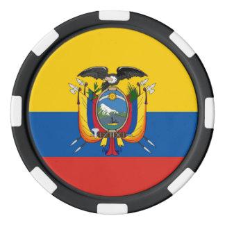Ecuador country flag symbol long poker chips