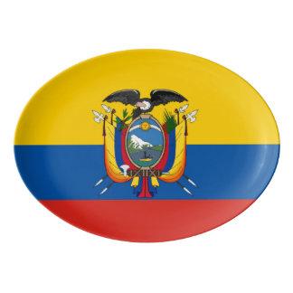Ecuador country flag symbol long porcelain serving platter