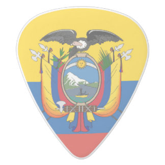 Ecuador country flag symbol long white delrin guitar pick