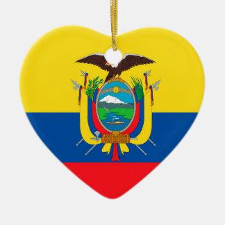 Ecuador Flag Ceramic Heart Ornament
