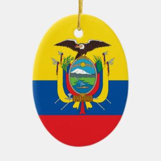 Ecuador Flag Ceramic Oval Ornament