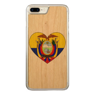 Ecuador Flag Heart Carved iPhone 8 Plus/7 Plus Case