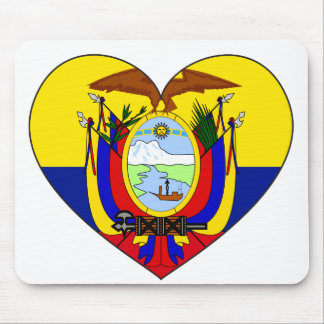 Ecuador Flag Heart Mouse Pad
