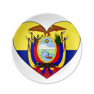 Ecuador Flag Heart Plate