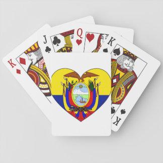 Ecuador Flag Heart Poker Deck