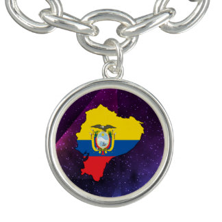 ecuador Flag Map on abstract space background Charm Bracelets