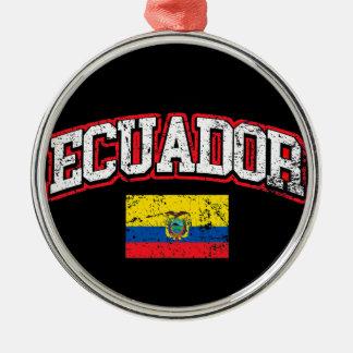 Ecuador Flag Silver-Colored Round Ornament
