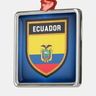 Ecuador Flag Silver-Colored Square Ornament