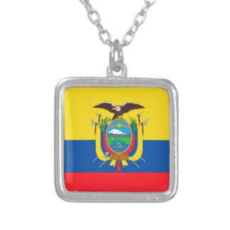 Ecuador Flag Silver Plated Necklace