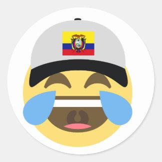 Ecuador Hat Laughing Emoji Classic Round Sticker