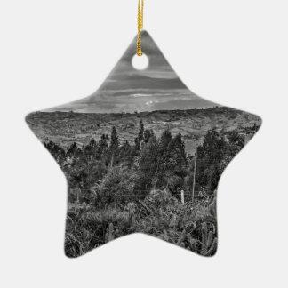 Ecuador Landscape Scene at Andes Range Ceramic Star Ornament