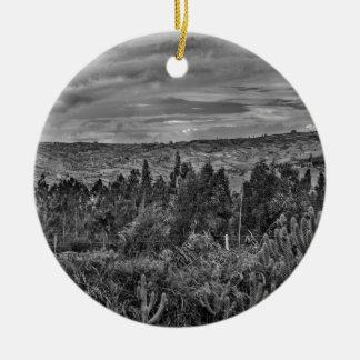 Ecuador Landscape Scene at Andes Range Round Ceramic Ornament
