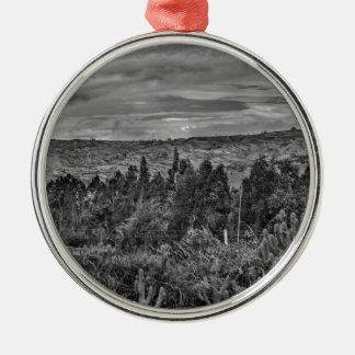 Ecuador Landscape Scene at Andes Range Silver-Colored Round Ornament