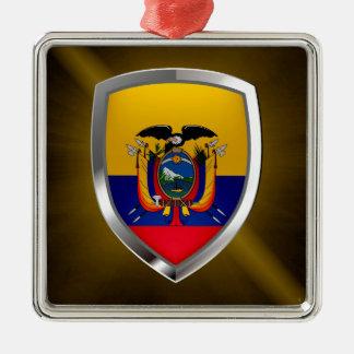 Ecuador Mettalic Emblem Silver-Colored Square Ornament