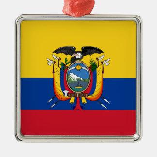 Ecuador Silver-Colored Square Ornament