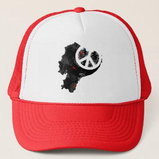 Ecuador Trendy Peace Sign with Ecuadorian map Trucker Hat