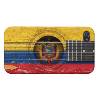 Ecuadorian Flag on Old Acoustic Guitar iPhone 4 Case